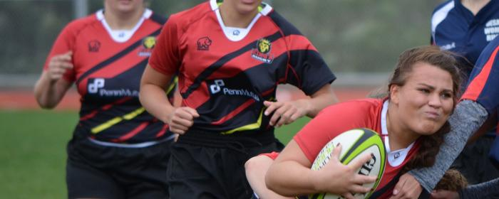 King's College Women's rugby go into contact against DeSales