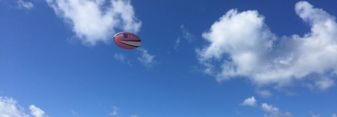 URugby ball in the air