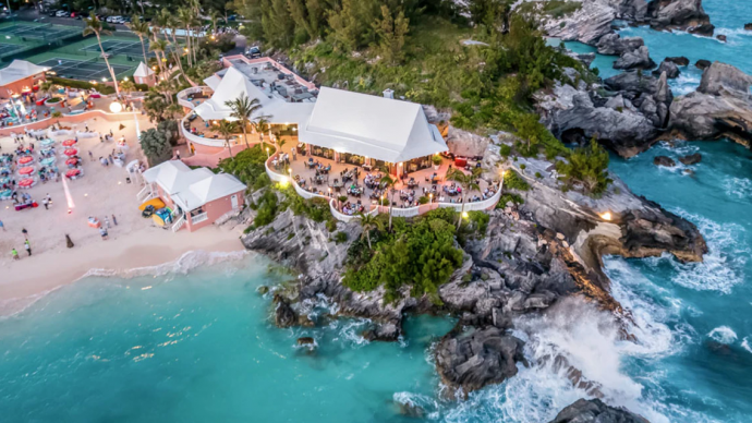 the beach from the air at the Fairmont Southampton in Bermuda