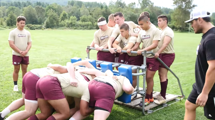 Norwich Rugby 15s on the scrum machine