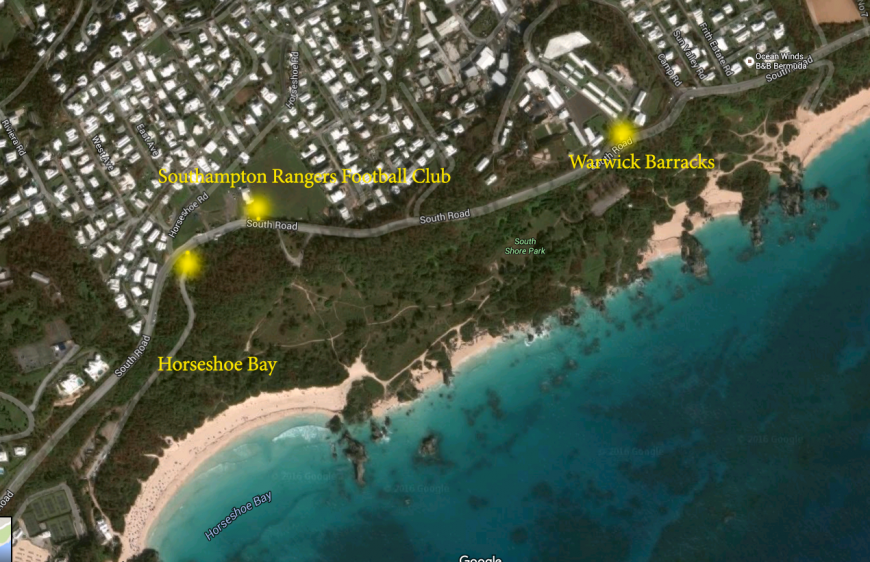 Map from Barracks to Horseshoe Bay