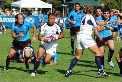 Saracens vs USA Islanders facing off on the rugby field engaged in a match